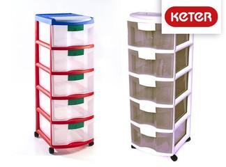 ארגונית פלסטיק 5 מגירות כתר