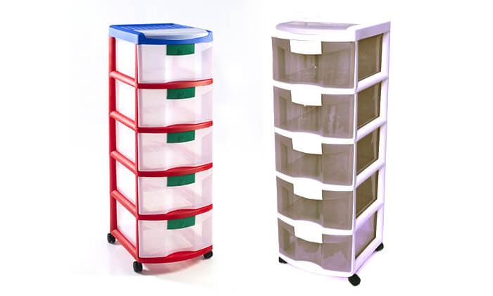 3 ארגונית פלסטיק 5 מגירות של כתר