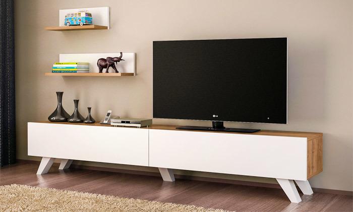 2 מזנון טלוויזיה עם זוג מדפים דגם Amerika
