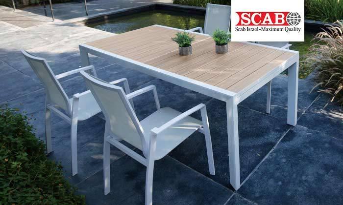 2 פינת אוכל שולחן וכיסאות לחצר SCAB