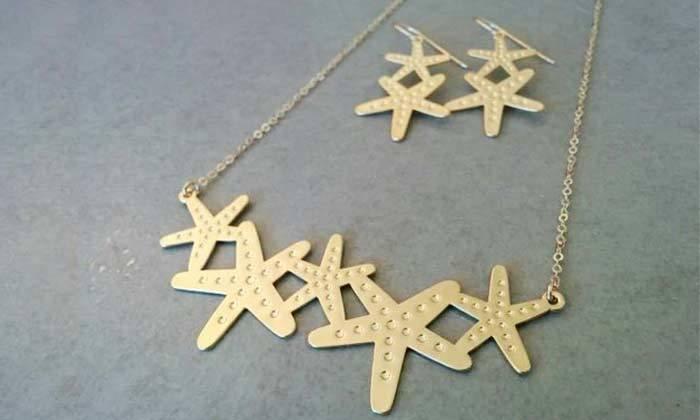 2 סט עגילים ושרשרת בצורת כוכבי ים