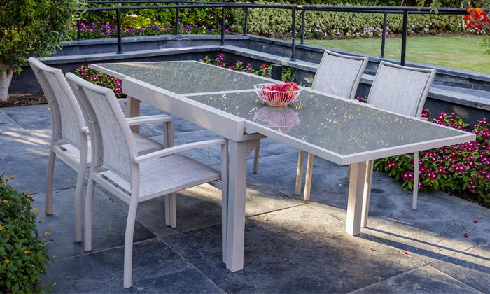 5 פינת אוכל לחצר עם שולחן נפתח ו-4-8 כיסאות SCAB, משלוח חינם