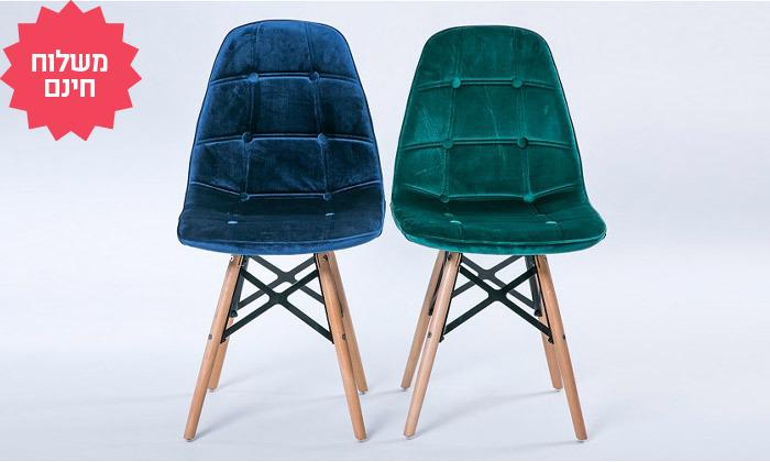 2 כיסא לפינת אוכל בריפוד דמוי קטיפה I משלוח חינם
