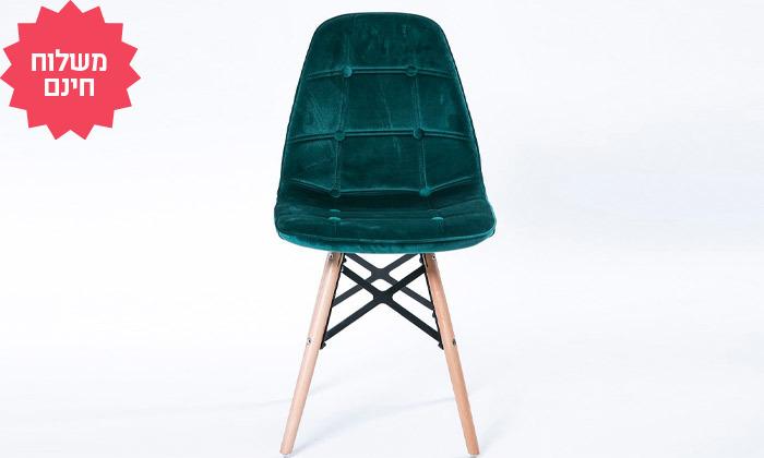3 כיסא לפינת אוכל בריפוד דמוי קטיפה I משלוח חינם