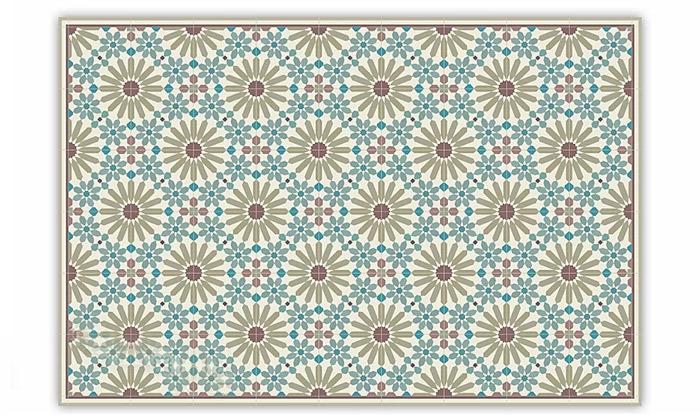 4 שטיח מעוצב לבית עשוי PVC דגם מרקש צבעי אדמה