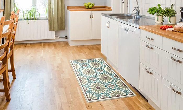7 שטיח מעוצב לבית עשוי PVC דגם מרקש צבעי אדמה