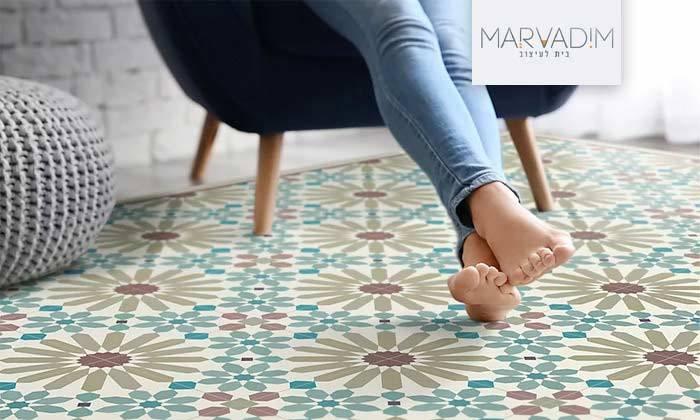 2 שטיח מעוצב לבית עשוי PVC דגם מרקש צבעי אדמה