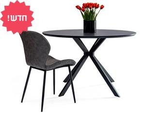 שולחן עץ עגול לשישה סועדים