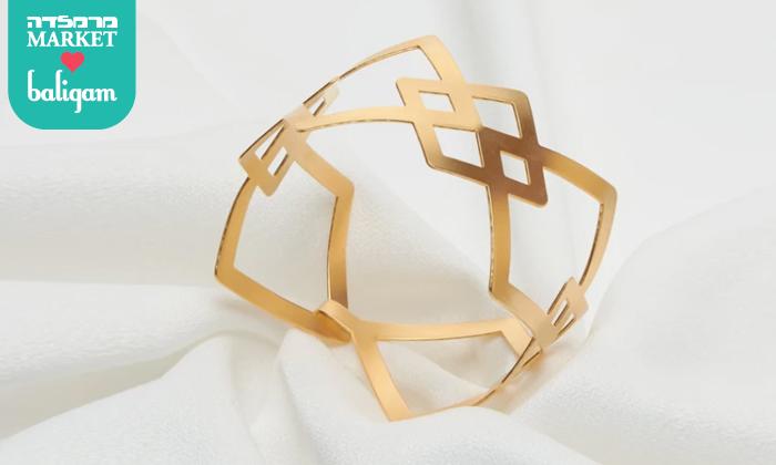 2 צמיד גיאומטרי רחב בציפוי זהב 24K