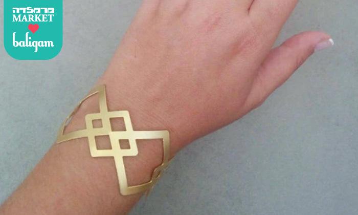 3 צמיד גיאומטרי רחב בציפוי זהב 24K