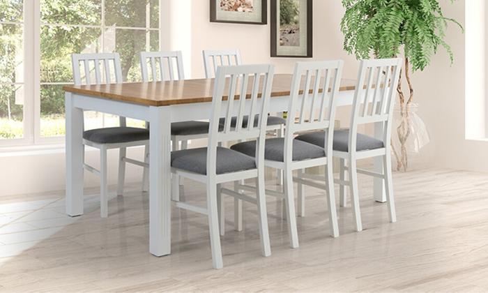 6 שולחן אוכל נפתח דגם קוליסאום ו-6 כיסאות דגם אלבינו - שמרת הזורע