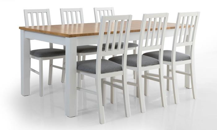 5 שולחן אוכל נפתח דגם קוליסאום ו-6 כיסאות דגם אלבינו - שמרת הזורע