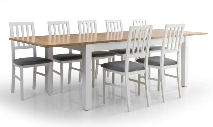3 שולחן אוכל נפתח דגם קוליסאום ו-6 כיסאות דגם אלבינו - שמרת הזורע