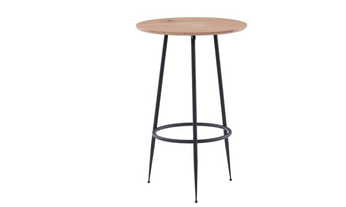 2 שולחן בר עגול בגוון עץ