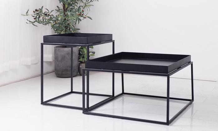 2 שולחן סלון מרובע ממתכת