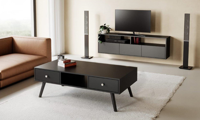 3 סט מזנון טלוויזיה ושולחן סלון