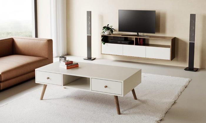 6 סט מזנון טלוויזיה ושולחן סלון