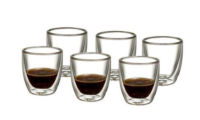 3 מארז 6/12 כוסות אספרסו עשויות זכוכית עם דופן כפולה