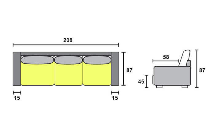 9 ספה תלת-מושבית דגם 'זולה' של שמרת הזורע