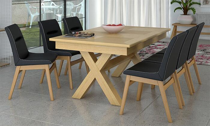 6 פינת אוכל נפתחת עם שולחן דגם מיקס וכיסאות דגם רוקי של שמרת הזורע