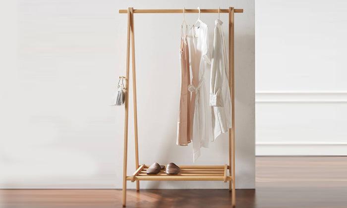 2 מתלה בגדים עשוי עץ במבוק מלא