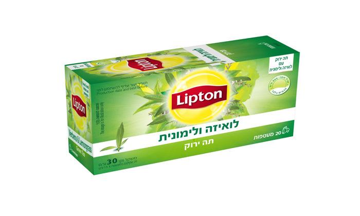 4 מארז תה ליפטון עם 8 חבילות תה ו-4 כוסות תה