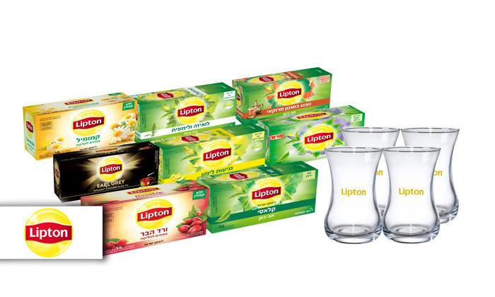 2 מארז תה ליפטון עם 8 חבילות תה ו-4 כוסות תה