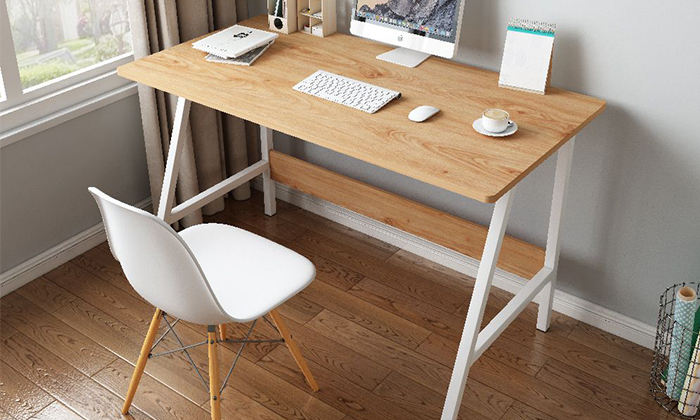 2 שולחן כתיבה מעץ בשילוב מתכת - משלוח חינם
