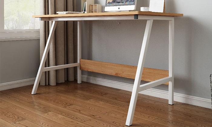 5 שולחן כתיבה מעץ בשילוב מתכת - משלוח חינם