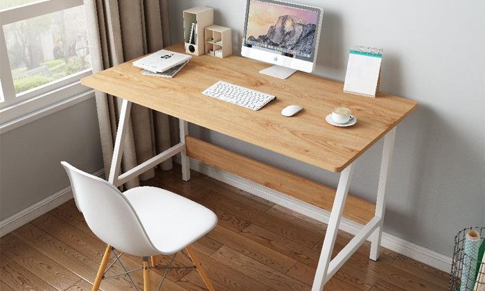 6 שולחן כתיבה מעץ בשילוב מתכת - משלוח חינם