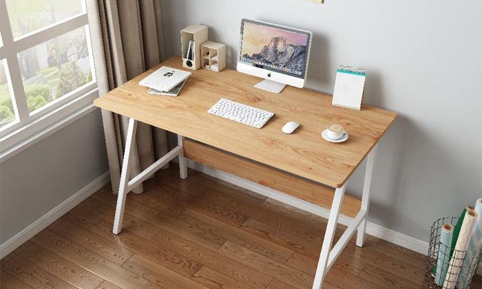8 שולחן כתיבה מעץ בשילוב מתכת - משלוח חינם