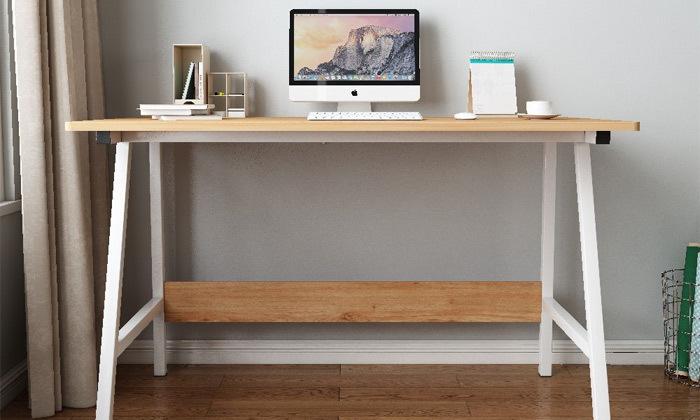 9 שולחן כתיבה מעץ בשילוב מתכת - משלוח חינם