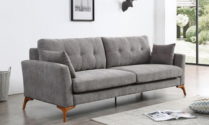 2 ספה תלת מושבית אפורה