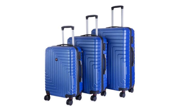 4 3 מזוודות POLO SWISS קשיחות